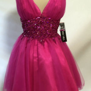 SHERRI HILL Pink Short Party Cocktail Beaded Dress
